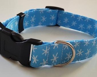 Dog Collar - Blue Christmas SnowStar Snowflake Fabric - Christmas Dog Collar