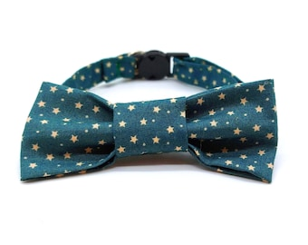 Christmas Cat Collar with optional bowtie -  green and gold star