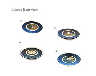 Handmade wheel thrown pottery medium decorative blue brown trinket plates.