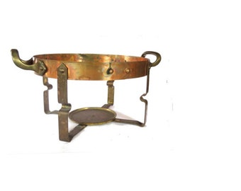 Tabletop NILS JOHAN Swedish large chafing dish casserole copper brass holder stand