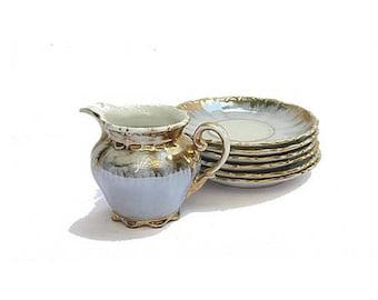 Vintage Bavaria Crown creamer and saucers. Gold trim lusterware tea set.