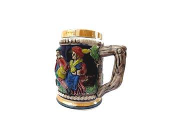 Ceramic vintage beer mug. German castle beer stein.