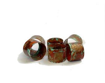 Napkin rings. South america. Dinner table set. Vintage napkin rings. Rustic table setting. Rustic copper napkin rings set.