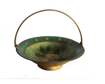 Vintage floral handled brass hand painted bowl. Design John lewis England.