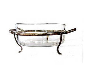 Clear glass round casserole vintage handled serving dish with silver plate 3 feet metal stand holder