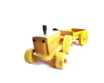 Wood handmade farm toy large two componenets pull tractor and cart toy for toddlers. Pine wood hand painted with acrylic colors.