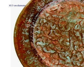 Very large vintage oriental copper tray with patina. Round wall hanging tray, tray for ottoman.