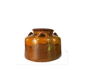 Rustic primitive vintage three handles salt water pottery planter plant holder, front porch planter.
