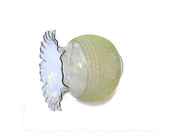 Clear and textured glass vintage lampshade lamp shade, Hurricane chimney ruffled lampshade