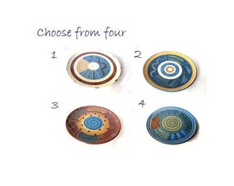 Pottery wheel thrown handmade decorative farmhouse chic blue medium trinket plates