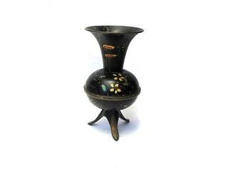 True vintage mid century small black hand painted copper tripod floral bud vase
