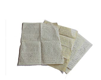 Vintage handwritten foreign language paper ephemera for art journaling, collages or scrap booking projects.