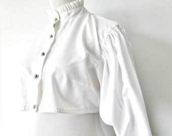 White Trachten Style Blouse with Floral Ribbon Trim 1980s
