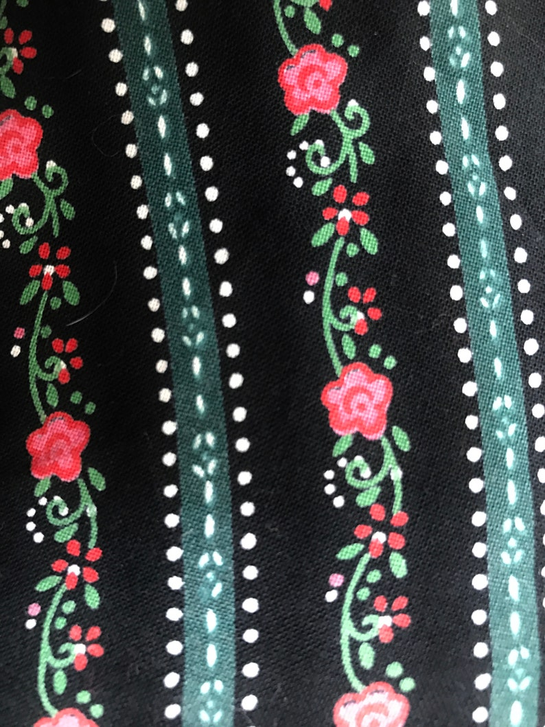 Fully Lined from Austria XL COTTON Skirt Trachten Dirndl Skirt 18 Pink Flowers 48 Black Floral Stripes 31 long Green Accents