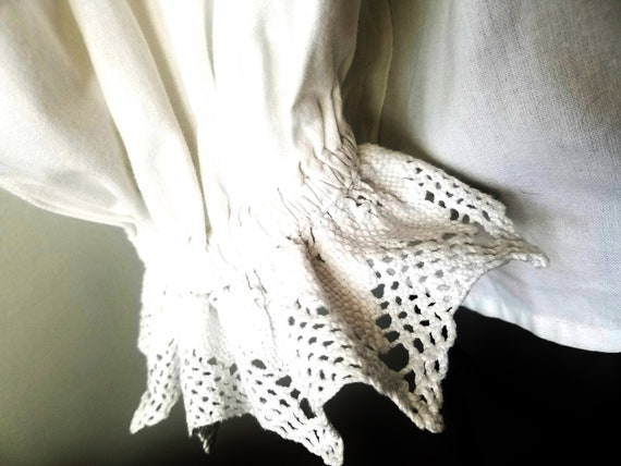 white Dirndl Shirt, CROCHETED LACE, lg Cotton Dirn