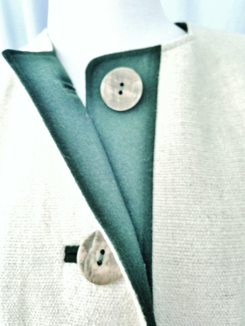 Paisley Lining, Trachten Jacket Embroidery Faux Horn Buttons LINEN EDELWEISS Jacket Green Loden Trim size 38 8