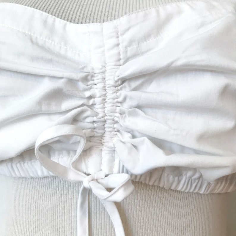 Size 42 = 12 Ruffles White Cotton Romantic CROPPED DIRNDL Blouse Trachten Blouse Puff Sleeves elastisized