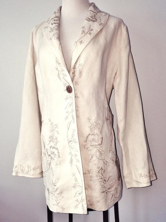 EMBROIDERED LINEN Coat, Long Linen Jacket, Beige F
