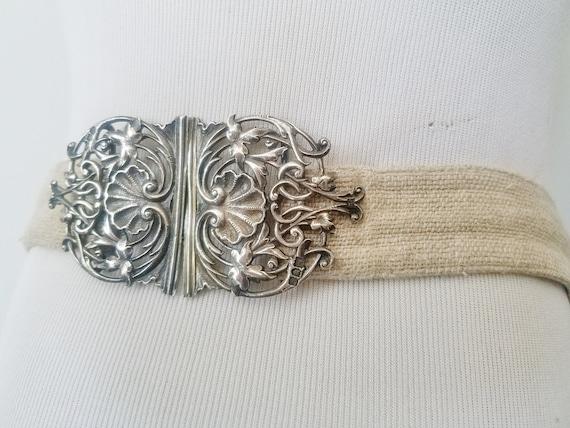 APRON w SILVER Buckle, Natural Linen Apron, Croche
