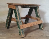 Step Ladder Stool, Industrial Workbench, Green Step Stool, French Step Ladder, Display Ladder Shelf, Primitive Workbench, Stool Plant Stand
