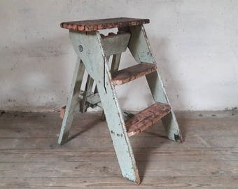 French Step Ladder, Industrial Step Stool, Rustic Kitchen Ladder, Mint Green Ladder, Wooden Step Ladder, French Country Chic, Nordic Living