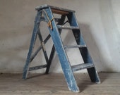 French Step Ladder, Industrial Step Stool, Ladder Display Stand, Blue Step Ladder, Step Ladder Shelf, Three Step Stool, Folding Step Ladder