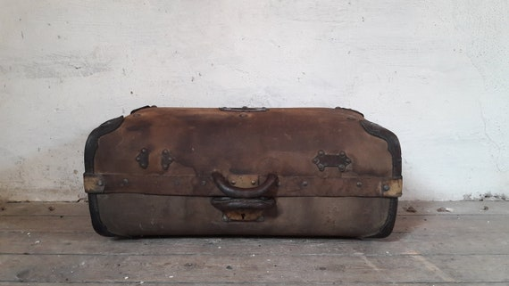 French Suitcase, French Travel Bag, Antique Linen