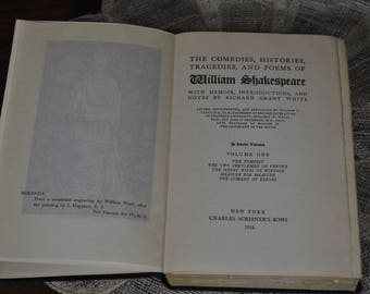 1924 William Shakespeare hard cover book - The comedies, histories, tragedies, and poems William Shakespeare. Valentine's Day gift idea.
