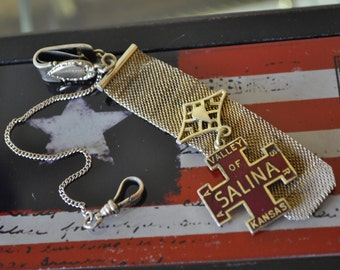H.F. Barrows watch fob, antique collectible wear, with a 32 deg Masonic Valley of Salina Kansas AASR red cross.
