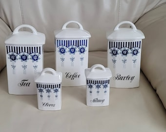 GRETE Germany vintage set of 5 porcelain lidded storage jars containers in delft blue colors.