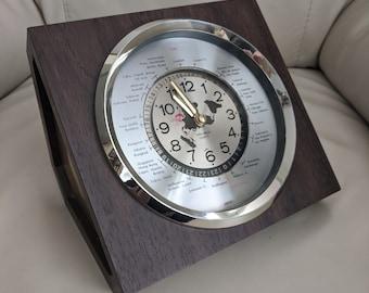 Steampunk design vintage VERICHRON Quartz Japanese GMT TIME conversion console clock.