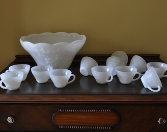 Vintage Anchor Hocking Punchbowl in Milk Glass grapes pattern with 12 cups.