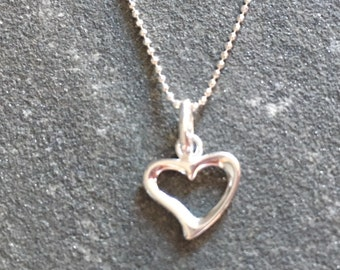 Sterling Silver Open Heart Necklace, Sterling Silver Ball Chain Necklace, Heart Charm Pendant, 925 Silver Jewellery Gift, Minimalist Jewelry