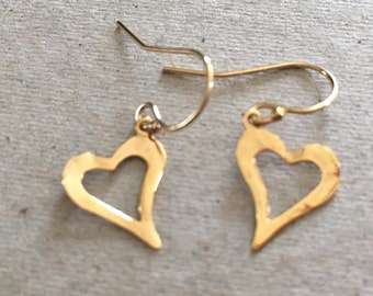 Gold Heart Earrings, Yellow Gold Earrings, Yellow Gold Jewellery, Jewellery Gift, Heart Jewelry, Gift for Her, Gold Filled, Handmade,
