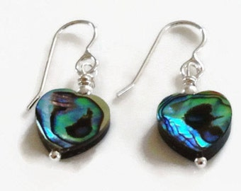 Abalone Heart Sterling Silver Dangle Earrings, Paua Earrings, Abalone Earrings, Paua Shell Jewellery, Gift for Her, Shell Jewelry