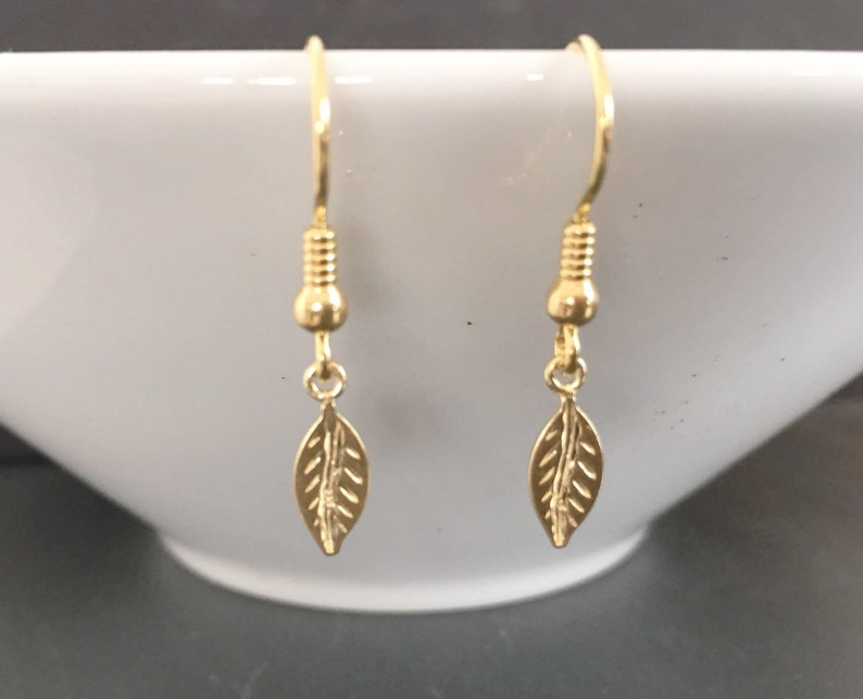 Minimalist Jewelry Gold Dangle Leaf Earrings Yellow Gold Plated over Sterling Silver Jewellery Gift