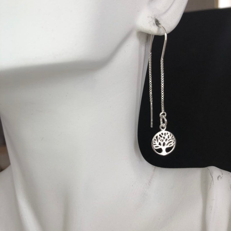 c4205f197 Sterling Silver Tree of Life Long Threader Earrings 925 | Etsy