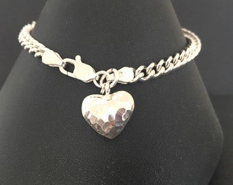 Sterling Silver Heart Charm Bracelet, 925 Silver Hammered Heart Bracelet, Bridal Jewelry, Beaten Silver Jewelry Gift For Her,