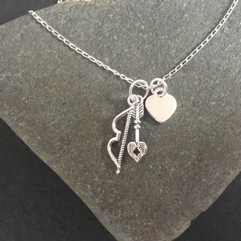 bc0c02d2a9aab Sterling Silver Bow & Arrow Necklace, Personalised Heart Charm Pendant,  Handmade Jewellery Gift for Her