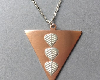 Copper and Sterling Silver Pendant Necklace, Triangle Pendant, Triangular Necklace, Copper Necklace, Silver Leaf, Geometric Pendant, Chain