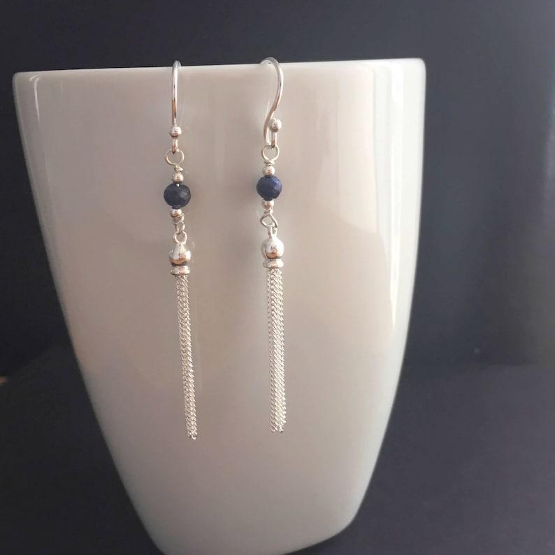 Blue Sapphire Sterling Silver Tassel Earrings September Birthstone Jewelry Sapphire Jewellery Gift 925 Silver Long Tassel Earrings