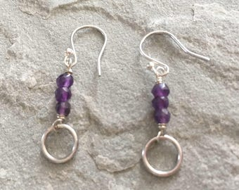 Purple Amethyst Circle Earrings, Sterling Silver Amethyst Earrings, Long Dangle Circle Earrings, February Birthstone Birthday Jewellery Gift