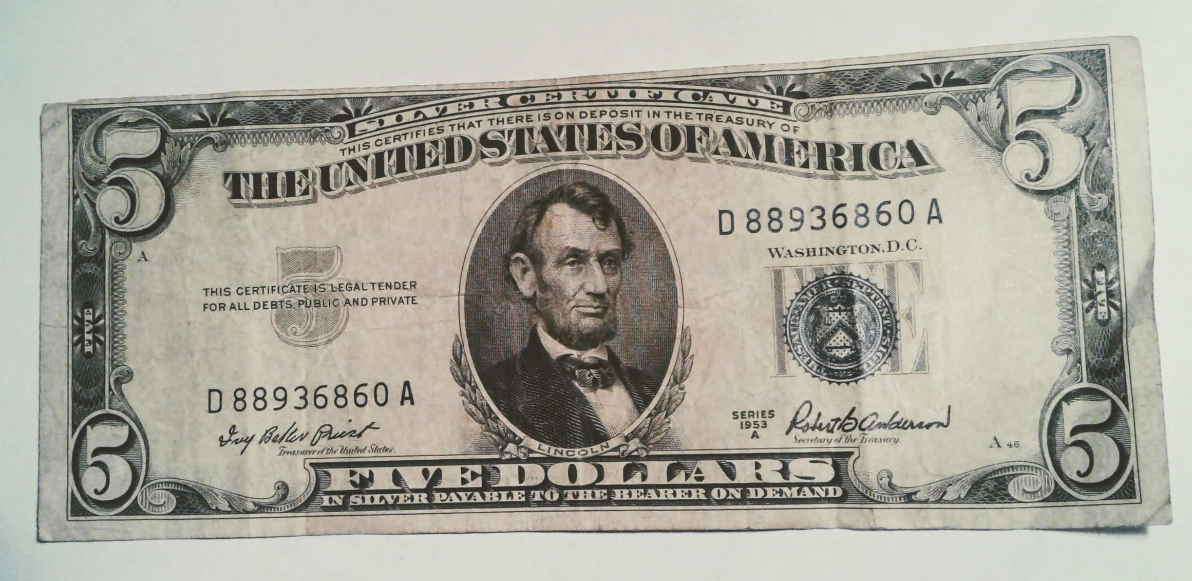 1953 A Five Dollar Silver Certificate Off Center Printing Etsy