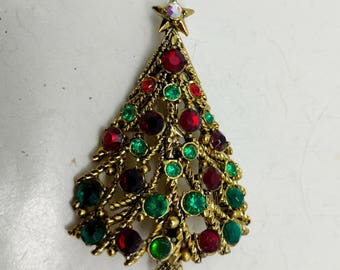 51d0ef6c6 C21: Very Rare Exquisite Vintage Hollycraft Rhinestone Christmas Tree Pin