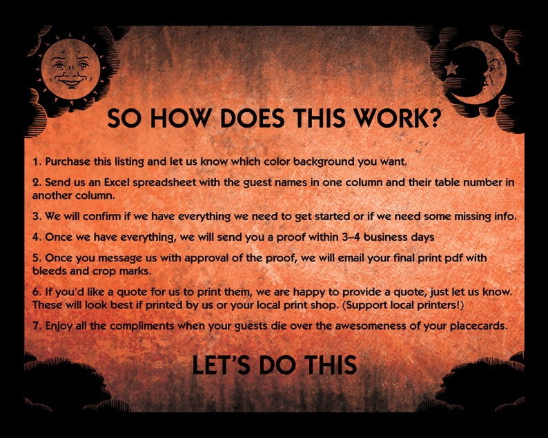 Halloween or Spooky Event PRINTABLE Custom Ouija Themed Placecards for your Hallowedding