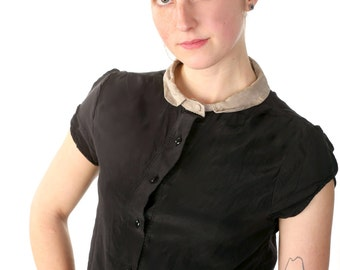 Collared Silk Blouse  - Short Waisted Button Down with Peter-Pan Collar