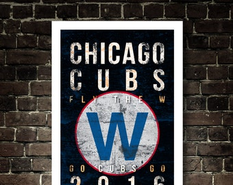 2016 Chicago Cubs Championship Subway Art - Featuring Championship Game 7 & Fly the W Flag - Vintage Chicago Cubs UNFRAMED Print