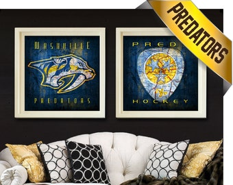 Nashville Predators 2-pc Map Set - Perfect Birthday, Christmas, Wedding or Anniversary Gift for Him - UNFRAMED Preds Prints