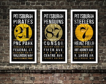 3-pc Pittsburgh Teams Subway Typography Art - Pirates, Steelers, Penguins Featuring Stadiums Neighborhood Streets - Vintage UNFRAMED Prints