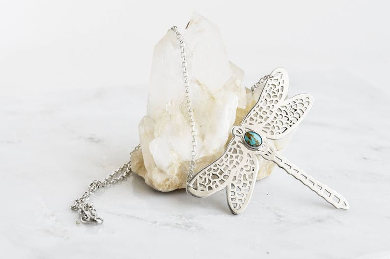 Turquoise Dragonfly Dreamer necklace in recycled silver by image 0